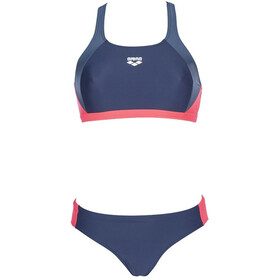 arena Ren Costume da bagno a due pezzi Donna, navy/shark/fluo red